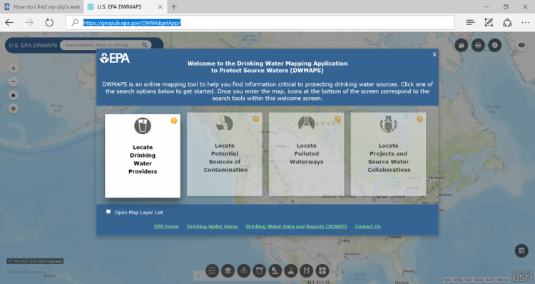 EPA Drinking Water Mapping Application